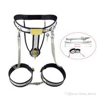 i saflık modeli toptan satış-Model-Y Paslanmaz Çelik Kadın Iç Çamaşırı Zincir Legcuffs Yetişkin Seks Oyuncakları ile Bekaret Kemeri Cihazları Kadınlar Için Bekaret Pantolon