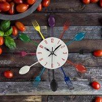 wanduhr gabel groihandel-New Design Kreative Wanduhr Multicolor-Hauptdekoration Besteck, Küchenzubehör Löffel Gabel Clock Wanduhr Home Küche Dekor