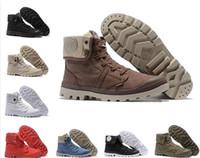 lona militar venda por atacado-Venda quente sapatos de grife PALLADIUM Pallabrouse Homens de Alta-top Ankle boots Militar Do Exército Tênis de Lona Sapatos Casuais Homem Anti-Slip calçados esportivos