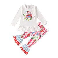 Wholesale owl clothing girl resale online - 2020 Christmas Kids Girls Clothing Sets Xmas Owl Embroidery Long Sleeve Top Christmas Tree Flare Pants set Baby Outfits M2199