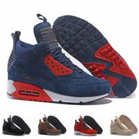 ботинки с зеленой замшей оптовых-Замша 90 MID мужская кроссовки классический 90-х Sneakerboot черный зеленый спорт дождь снег зимние ботинки мужчины кроссовки дизайнерские сапоги размер 12