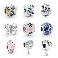 accesorios de mariposas joyas al por mayor-Nuevo estilo de flores de mariposa encanto perlas aptas para pandoa pulsera collar brazalete DIY Joyería gran agujero encantos Accesorios como regalo