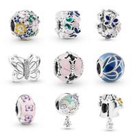 ingrosso accessori delle farfalle dei monili-Nuovo stile farfalla fiore fascino perline fit per pandoa braccialetto collana braccialetto gioielli fai da te grande buco charms Accessori come regalo