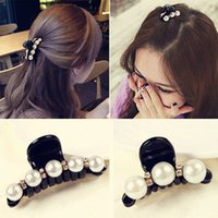 Wholesale black rhinestone crystal barrette for sale - Group buy Black Hair Claw Clip Crystal Pearl Plastics Hair Clips Barrettes For Women Baby Rhinestone Hairpin Hairgrip Hair Styling Jewelry Accessories