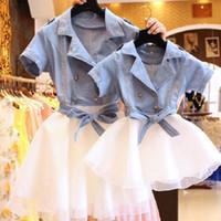 anne etekleri toptan satış-Kıyafetler anne And Me anne kızı Elbiseler Aile Bak Düğme Gömlek + tutu Etek Prenses Anne Kız Şık Elbise Y19051103 Eşleştirme Aile