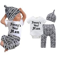 Wholesale little baby boys clothing for sale - Group buy Newborn moustache Print clothing set Baby Boys Little Brother Romper Bodysuit and Pants Leggings with Hat Outfits Set suit LJJA3311
