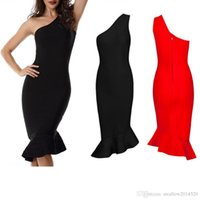 schöne rote partykleider großhandel-Schöne Pop-Mode Frauen sexy figurbetontes Kleid eine Schulter rot schwarz klassischen besonderen Anlass Abendgesellschaft Verbandkleid