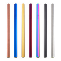 Wholesale bubble tools resale online - Colorful mm Wide Straws Plated Stainless Steel Bubble Tea Straws Reusable Straws Beer Fruit Juice Drink Dining Bar Kitchen Tool HH7