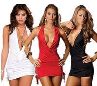 sexy schwarze frauen nachthemden großhandel-Sexy Dessous Damen Niedriger Busen V-Ausschnitt Robe Kleid Babydoll Nachthemd Nachthemd Nachtwäsche Weiß Rot Schwarz Freie Größe