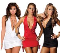 kadınlar için siyah gecelik giysileri toptan satış-Sexy Lingerie Kadın Düşük Bosom V Boyun Robe Elbise Babydoll Gecelik Gecelik Pijama Beyaz kırmızı Siyah Ücretsiz Boyut