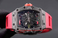 Wholesale custom silver buckles resale online - Mens Superlative Mountaineering custom RM35 Black carbon fiber layer Japanese Miyota Automatic movement Rubber red band watches
