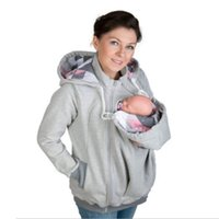 Plus Size Women Clothing Women Maternity Striped Baby Pouch Carrier Hoodie Kangaroo Zipper Pregnancy Coat
