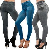 модные новые женские тонкие гетры оптовых-NEW Sexy Women Jean Skinny Jeggings Stretchy Slim Leggings Fashion Skinny Pants
