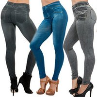 nuevas mujeres de moda leggings slim al por mayor-NUEVAS mujeres atractivas Jean Skinny Jeggings elásticos polainas delgadas moda pantalones pitillo