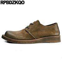 avrupa tarzı erkek ayakkabıları toptan satış-Rahat lace up İngiliz tarzı retro 2019 oxfords hakiki deri İtalyan erkekler ayakkabı markalar avrupa pist süet bahar konfor
