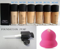 base de maquillaje bombas al por mayor-Studio Fix Fluid SPF15 Base de maquillaje NC Estilo Natural Mate Líquido Foundatio 30ML con base Pump y Spong Puff 3 en 1 colección