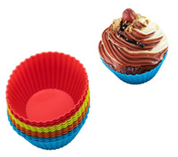 Wholesale cake sticks baking tray resale online - silicone non stick baking moulds cm round silicone Cupcake Liners Mold Egg tart mould tray bar kitchen bakeware tool