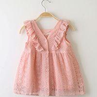 Wholesale puff bow dress online - Children s Dress Summer Girl Princess Skirt Lace Lotus Leaf Edge Button Baby Skirt Dress Princess Skirt kids boutiques clothing