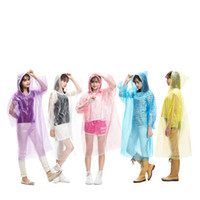 Discount disposable rainwear Disposable PE Raincoats Poncho Rainwear Travel Rain Coat Rain Wear gifts mixed colors Fashion Hot XD23218