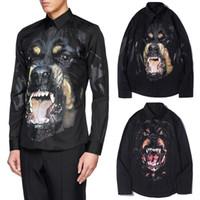 remera la camisa al por mayor-2019 Camisa de diseñador en negro para hombre, estampado Rottweiler, cabeza de perro, ajuste, mangas largas, bolsillo, camisas de algodón ocasionales