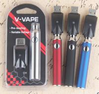 Wholesale usb charger for vaporizer resale online - V VAPE LO Preheat VV Battery Kit mAh Vaporizer Variable Voltage Battery With USB Charger For Thread Thick Oil Cartridge Tank DHL