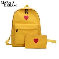 ea547713fda9 Pop2019 Mara s Dream Pcs Set Women Backpack Love Heart Printed Canvas Lady Travel  Bag Girls Students Pencil Case School Shoulder Bags