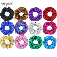 ingrosso ponytail in pelle-Furling Girl 1 PC Faux Leather Shiny Hair Scrunchies Hair Ties Ponytail Holder per le donne Accessori Elastic Bands