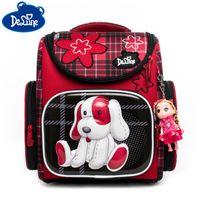 Wholesale primary school bags for girls resale online - Delune Cartoon School Backpack for Girls Bookbag Dog Printing Children Orthopedic Backpack Mochila Primary School Bags