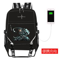 Wholesale art online sao online - Anime Sword Art Online SAO Canvas Shool Backpack USB Charging Laptop Backpack Kirito Yuuki Asuna COS Women Travel Bags