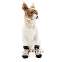 Wholesale pet shoes chihuahua resale online - 4Pcs set Pet Dogs Winter Shoes Non slip Knit Socks Small Dogs Cat Shoes Chihuahua Thick Warm Paw Protector Dog Socks Booties