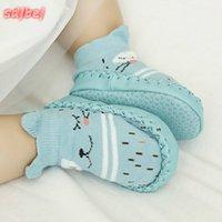meias para crianças venda por atacado-Bebê da criança Sapatos Infantil Primeiro Walker Infantil Meias Dos Desenhos Animados Crianças Piso Interior Meias Não-Deslizamento Bebê Mocassins Chinelos