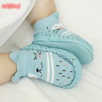 ingrosso calzini in cotone infantile-Toddler Baby Shoes Infant primo camminatore infantile Cartoon calzini bambini coperta pavimento calzini antiscivolo Baby mocassini pantofole