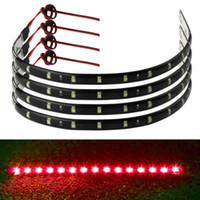 parrilla de coche de luz roja al por mayor-10PCS 30cm 15 LED Car Trucks Motor Grill Flexible Luz impermeable Tiras Blanco Rojo Azul