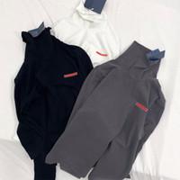 ingrosso donne del collare della camicia del maglione-20ss invernale alto colletto della camicia di colore solido morbido a maniche lunghe Felpa Uomo Donna Warm Pullover Moda All'interno maglione T-shirt HFYMWY342
