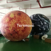 Wholesale planets toys online - 6 ft m LED lighting giant inflatable earth globe ball planet pvc balloon for decoration inflatable world map ball