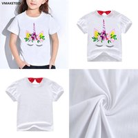ingrosso camicia bianca stampata per i bambini-Unicorn White Kids T-shirt 1-9y Kids Boys Girls Unicorn Cartoon stampato tee shirt bambini vestiti di design DHL FJ42