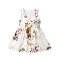 Wholesale floral toddler for sale - Group buy INS Baby girls Princess dress summer sleeveless tank dresses floral toddler skirt button decor kids party wear birthday gifts cm A3123