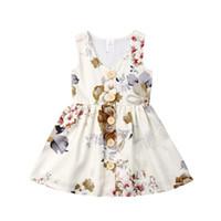 kız bebekler için doğum günü elbiseleri toptan satış-INS Bebek kız Prenses elbise yaz kolsuz tank elbiseler çiçek toddler etek düğme dekor çocuklar parti giyim doğum günü hediyeleri 80-120 cm A3123