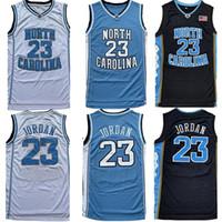 camisetas de baloncesto juvenil al por mayor-Youth Men NCAA North Carolina Tar Heels 23 Michael Jersey College Camisetas de baloncesto Negro Blanco Azul Envío gratis