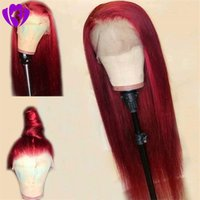 Wholesale long heat resistant straight wig for sale - Group buy 2019 New Cosplay Straight Long Burgundy Wig Hand Tied Heat Resistant Glueless Synthetic Lace Front Wigs for Women Free Part