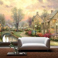 natureza pintura a óleo venda por atacado-Papel De Parede 3D Natureza Cenário da paisagem pintura a óleo em 3D Mural Wallpaper Sala Quarto Non Woven-papel de parede Home Decor