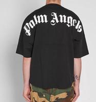 saf pamuk gömlek erkek toptan satış-19SS Sıcak Satış Yeni Saf Pamuk PALM MELEKLER T Gömlek rahat Gevşek Tipi Tasarım T Shirt Geri Mektup Baskı Erkekler T-shirt