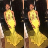 Wholesale short backless black prom dresses for sale - Group buy 200 Cheap Halter Neck Yellow Prom Dress Sleeveless Elastic Satin Long Mermaid Plus Size Evening Party Gowns With Lace Appliques