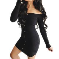 uzun kollu pamuk bodycon elbise toptan satış-Kadın Elbise Uzun Kollu Katı Düğme Kapalı Omuz Akşam Casual Parti Pamuk Bodycon Mini Elbiseler Bir Adet