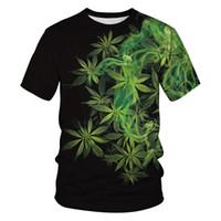 ingrosso camicia di compressione verde-Leaf T Shirt Summer Men Women Stampa 3d Green Pattern T Shirt Camisetas maniche corte O-Collo Compression Tees Homme