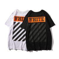 kadın turşusu gömlekler toptan satış-Yaz Yeni Ürün Gelgit Kart Turuncu Baskı Severler T-Shirt Eğik Şerit Erkekler Ve Kadınlar Kısa Kollu T T-shirt