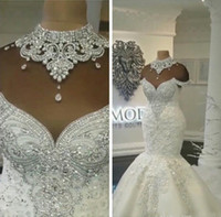 vestido com cristais sem costas venda por atacado-Luxo Dubai Árabe Vestidos De Noiva Sereia Beading Cristais Tribunal Train Backless Plus Size Vestidos De Noiva Personalizado
