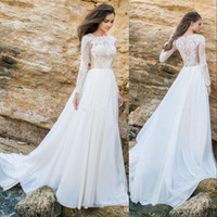 Wholesale vintage chiffon bridal wrap resale online - Cheap Arabic Beach Wedding Dresses Jewel Neck Long Sleeves Lace Applique Illusion Beads Button Back Chiffon Sweep Train Formal Bridal Gowns