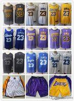 weiße lakers groihandel-Mens Los AngelesLakers-StadtAusgabe 23 LeBron James Basketball Shorts Basketball Jersey Goldene lila weiß schwarz rot