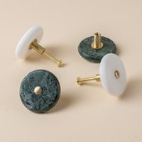 Wholesale green drawer knobs for sale - Group buy stone knobs white marble green marble knobs drawer pull handle bathroom hanger cabinet knob